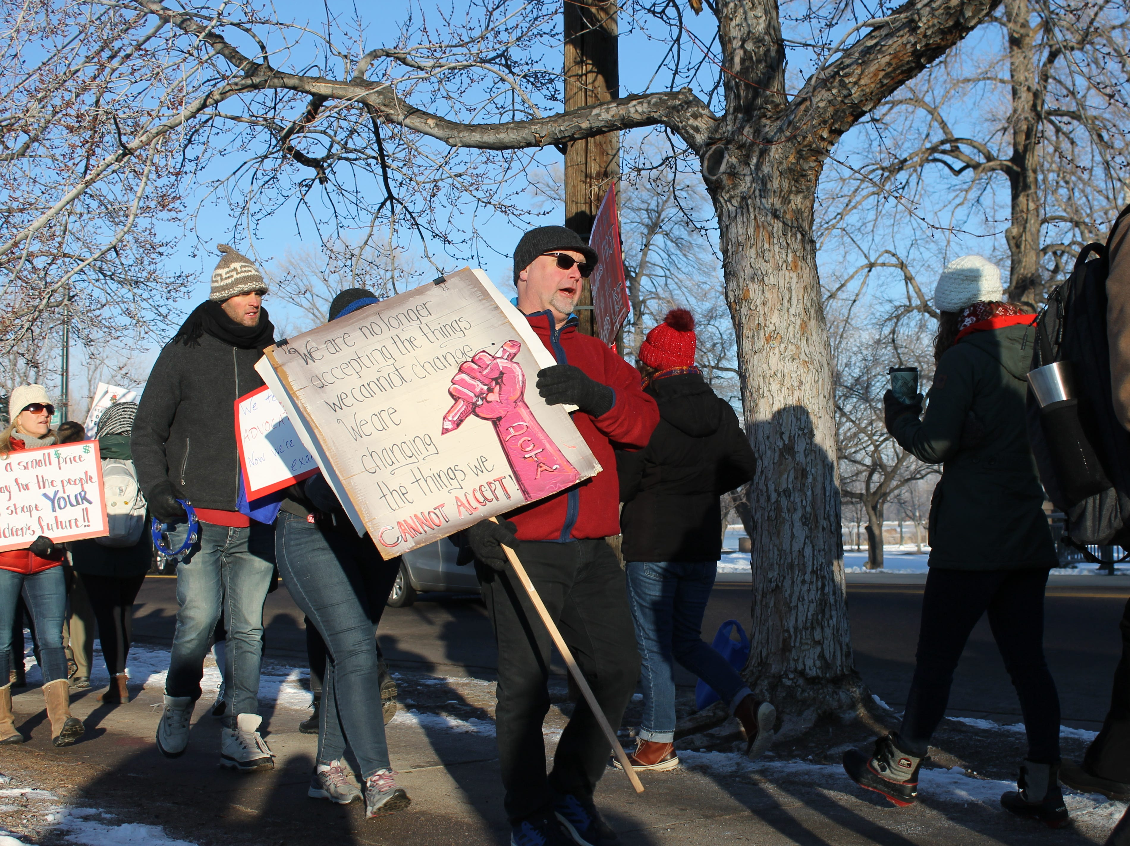 South High School teachers join thousands of Denver Public Schools educators on strike Monday. The district has called in subs to keep schools open, costing  an estimated $400,000 per day.
