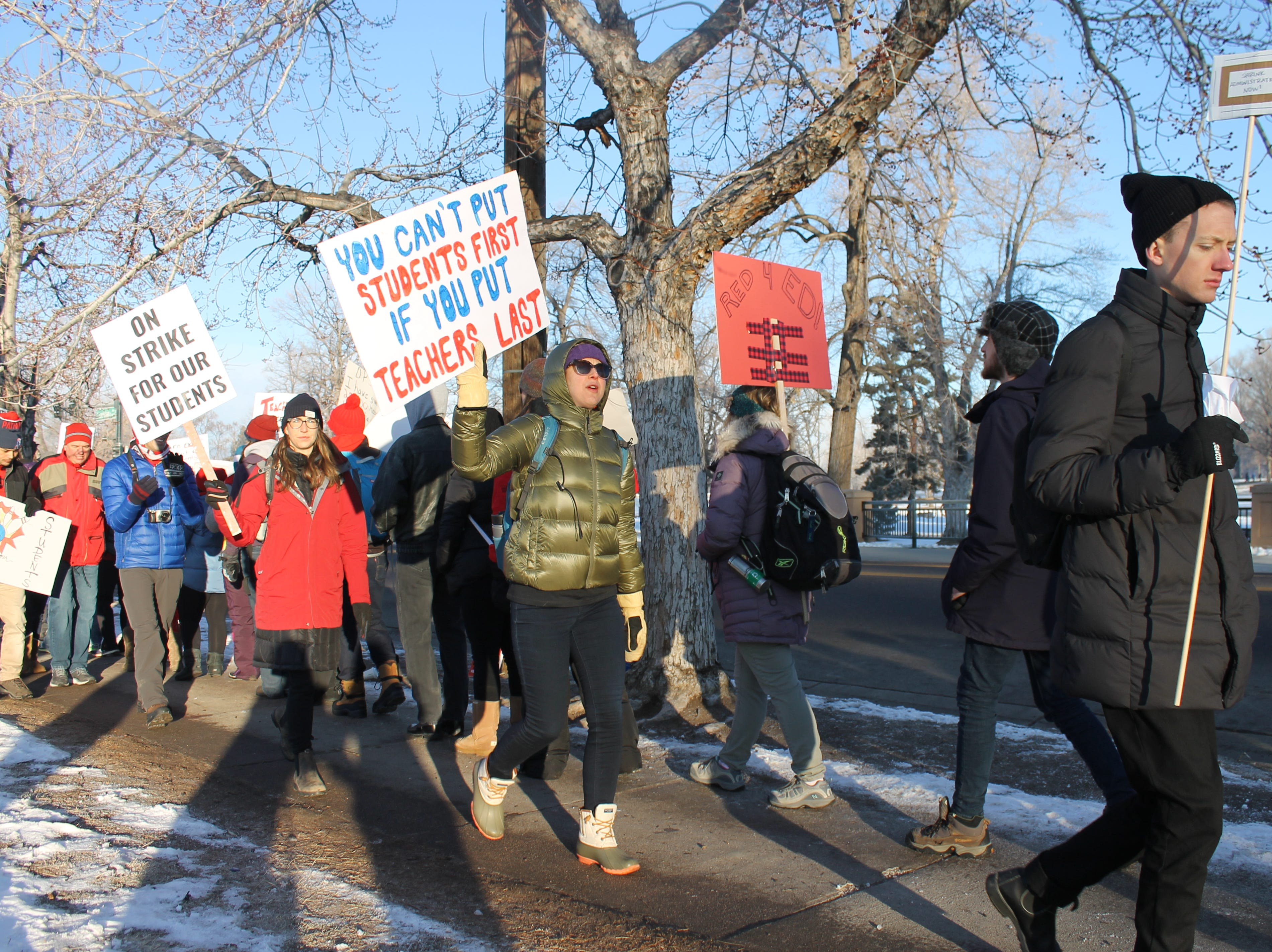 Thousands of teachers braved the cold Monday to picket outside their schools. Teachers in Denver Public Schools are calling for better pay and a more fair compensation system. Teachers have been in negotiations with the district for 15 months. Negotiations can resume Tuesday at the earliest.