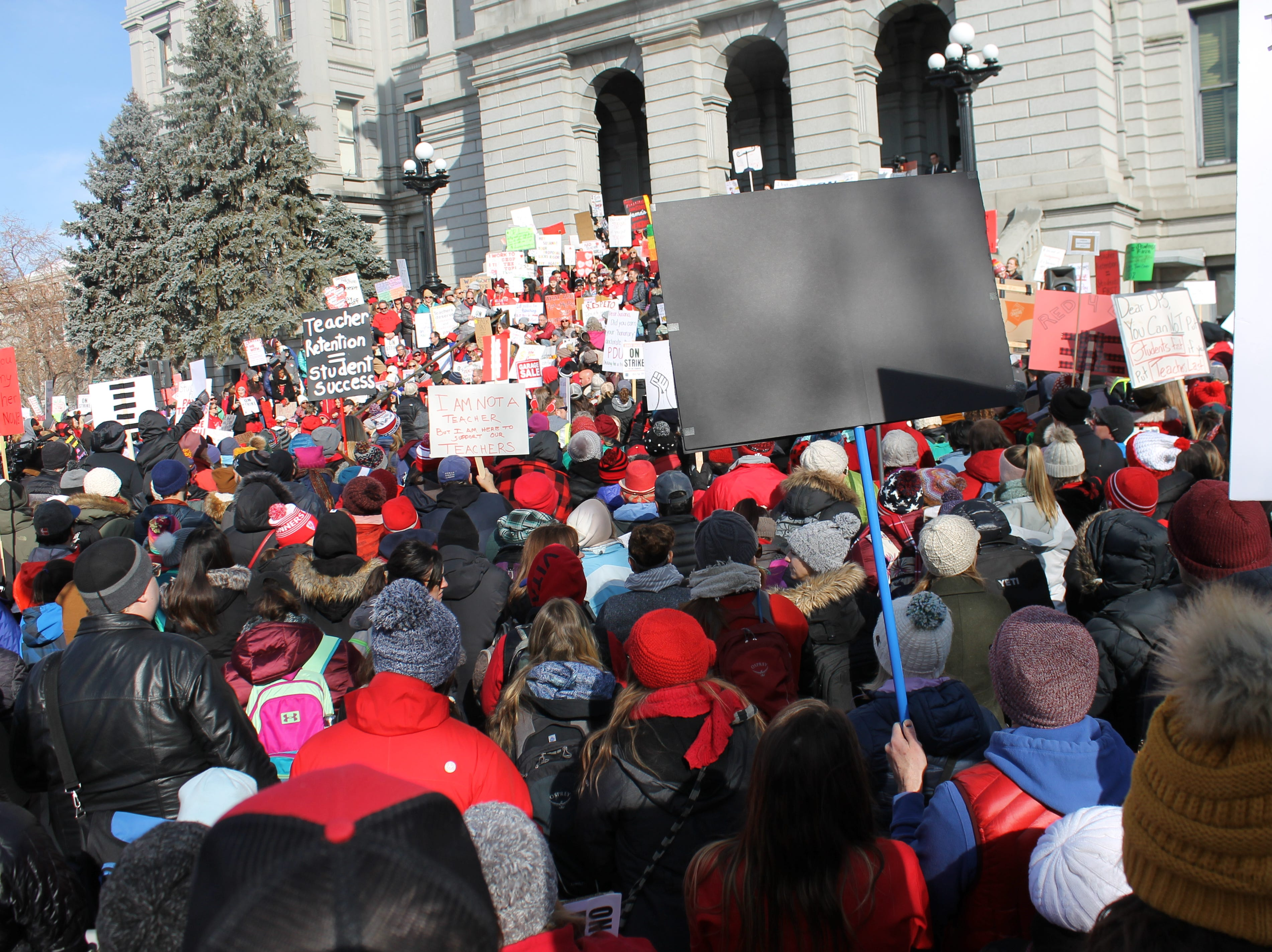 Thousands of Denver Public Schools teachers and special services providers gathered at the Capitol Monday. Teachers walked out in the first DPS strike in 25 years.