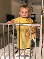 Baby Jones Sucher at the hospital for a recent procedure