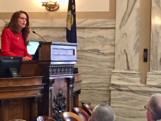 Superintendent of Public Instruction Elsie Arntzen speaks Monday to the Montana House of Representatives and other state officials.