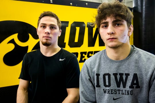 Spencer Lee, left, is ranked No. 2 and the defending NCAA champion at 125 pounds. Austin DeSanto, right, is ranked No. 3 with wins over NCAA finalists Ethan Lizak and Nick Suriano at 133.