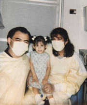 Paulina Nieto and her parents, Ramiro and Maria, around the time of her first heart transplant at age 2.