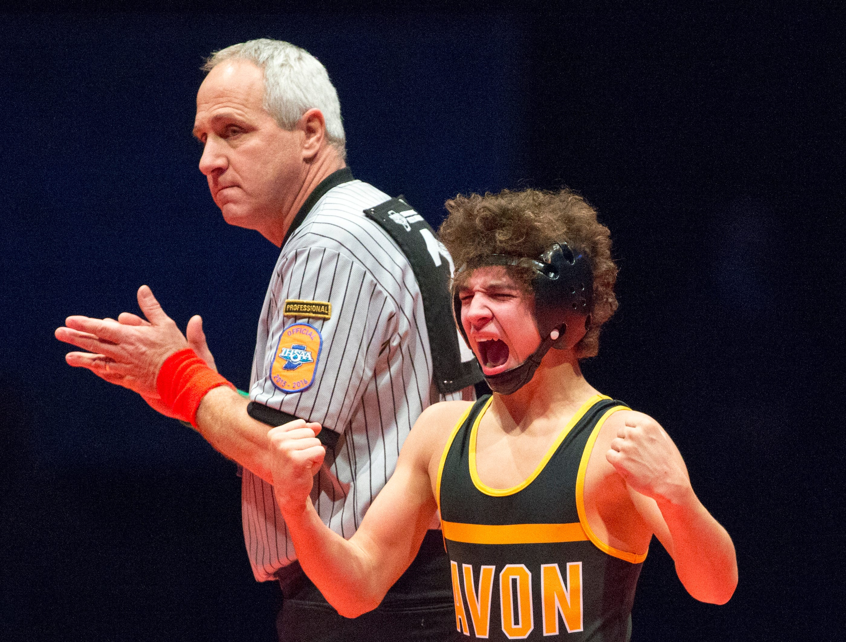 Asa Garcia of Avon High School, after his pin of Warren Central High School's Keyuan Murphy, at 106 pounds, to win the IHSAA Wrestling State Finals, Bankers Life Fieldhouse, Indianapolis, Saturday, Feb. 20, 2016.