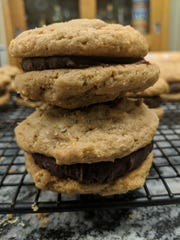 These peanut butter and chocolate sandwich cookies are ridiculously simple to make.
