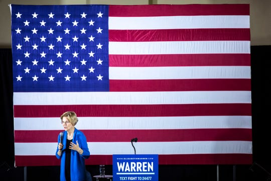 U.S. Sen. Elizabeth Warren, D-Mass, speaks to supporters during a campaign stop on Sunday, Feb. 10, 2019 at the Iowa Memorial Union on the University of Iowa campus in Iowa City, Iowa.