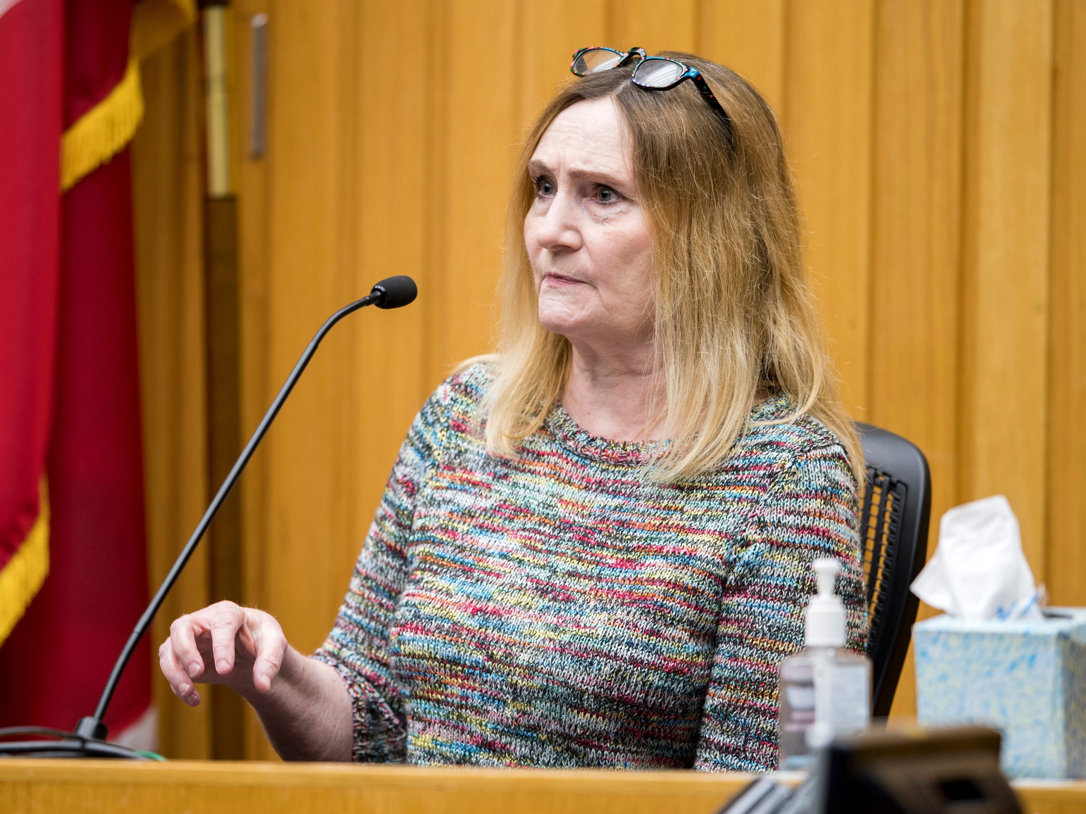 Family counselor Mary Barker on the witness stand during David Lynn Richards' trial in Knox County Criminal Court on Friday, February 8, 2019.