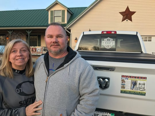 Becky and Mike Patty, grandparents of LIbby German, said they've been doing all they can to get word out about the killing of their granddaughter and her friend, Abby Williams, two years after they were found dead near Delphi's Monon High Bridge trail in February 2017. Patty's truck features a tribute to Abby and Libby in the back window and a magnet with information about the case on the tailgate.