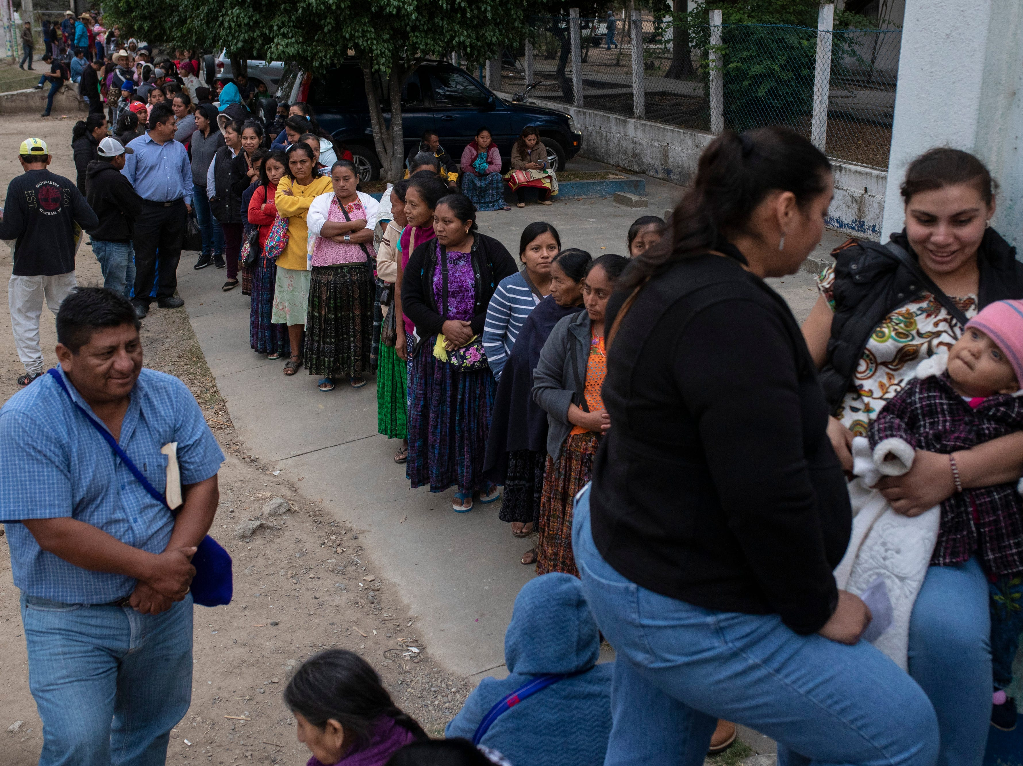 Over a thousand people wait in line to be seen by the Children of the Americas medical mission group at the Hospital Nacional de Salamá. Many traveled a full-day and multiple days to attend the clinic. Jan 20, 2019