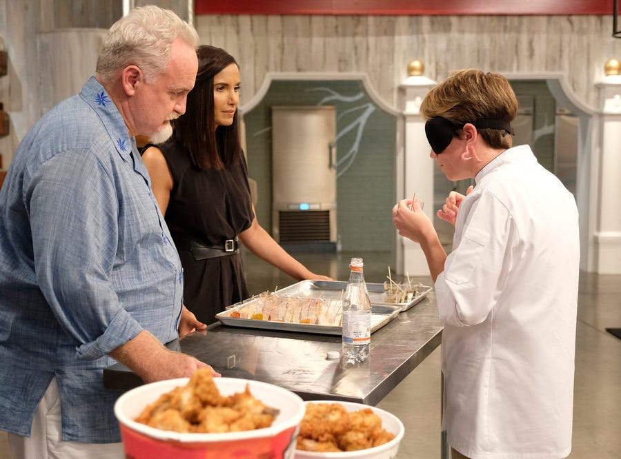 (From left to right): Chef Art Smith, Padma Lakshmi and Adrienne Wright on episode 11 of Bravo's 'Top Chef:' Kentucky season.
