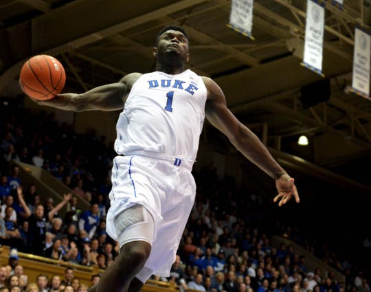 Duke Blue Devils forward Zion Williamson (1) prepares to dunk during the second half against the Eastern Michigan Eagles at Cameron Indoor Stadium in Durham, North Carolina, on Wednesday, Nov. 14, 2018. The Blue Devils won 84-46.