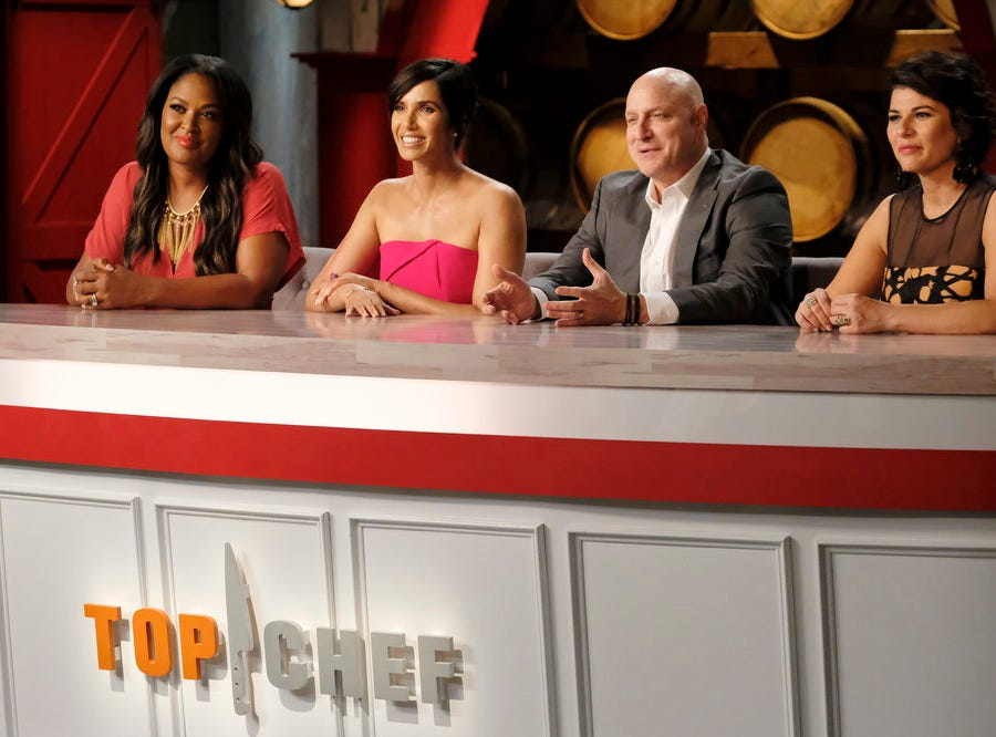 (From left to right): Muhammad Ali's daughter Laila Ali, host Padma Lakshmi and judges Tom Colicchio and Nilou Motamed on episode 11 of Bravo's 'Top Chef:' Kentucky season.