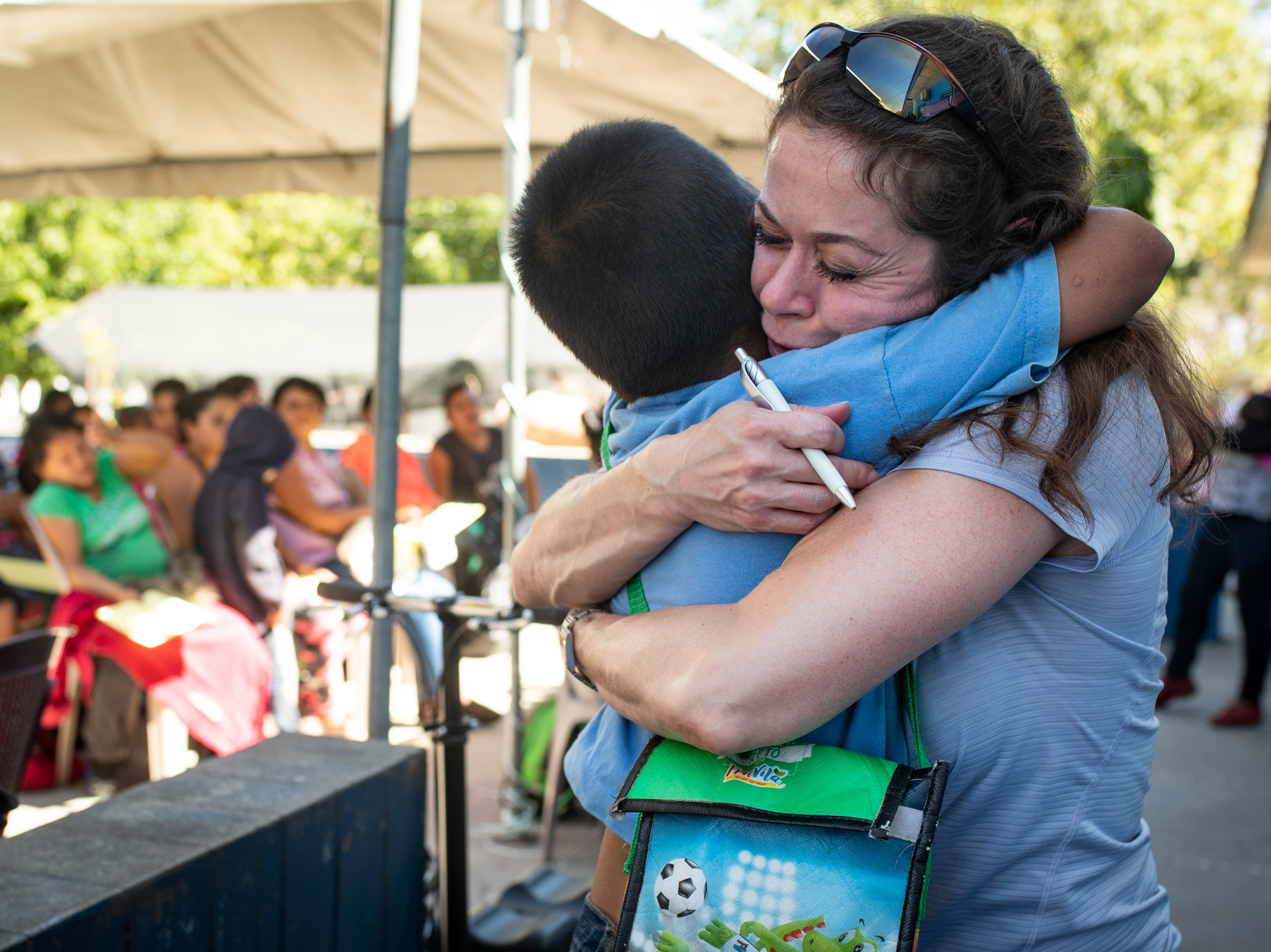 COTA triage coordinator Nancy Vasto gives a big hug goodbye to a patient in Salamá, Guatemala. Jan. 20, 2019