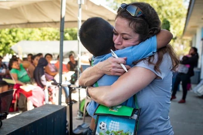 COTA triage coordinator Nancy Vasto gives a big hug goodbye to a patient in Salamá, Guatemala. Jan. 20, 2019