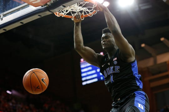 Duke Blue Devils forward Zion Williamson (1) dunks the ball against the Virginia Cavaliers in the first half at John Paul Jones Arena in Charlottesville, Virginia, on Saturday, Feb. 9, 2019.