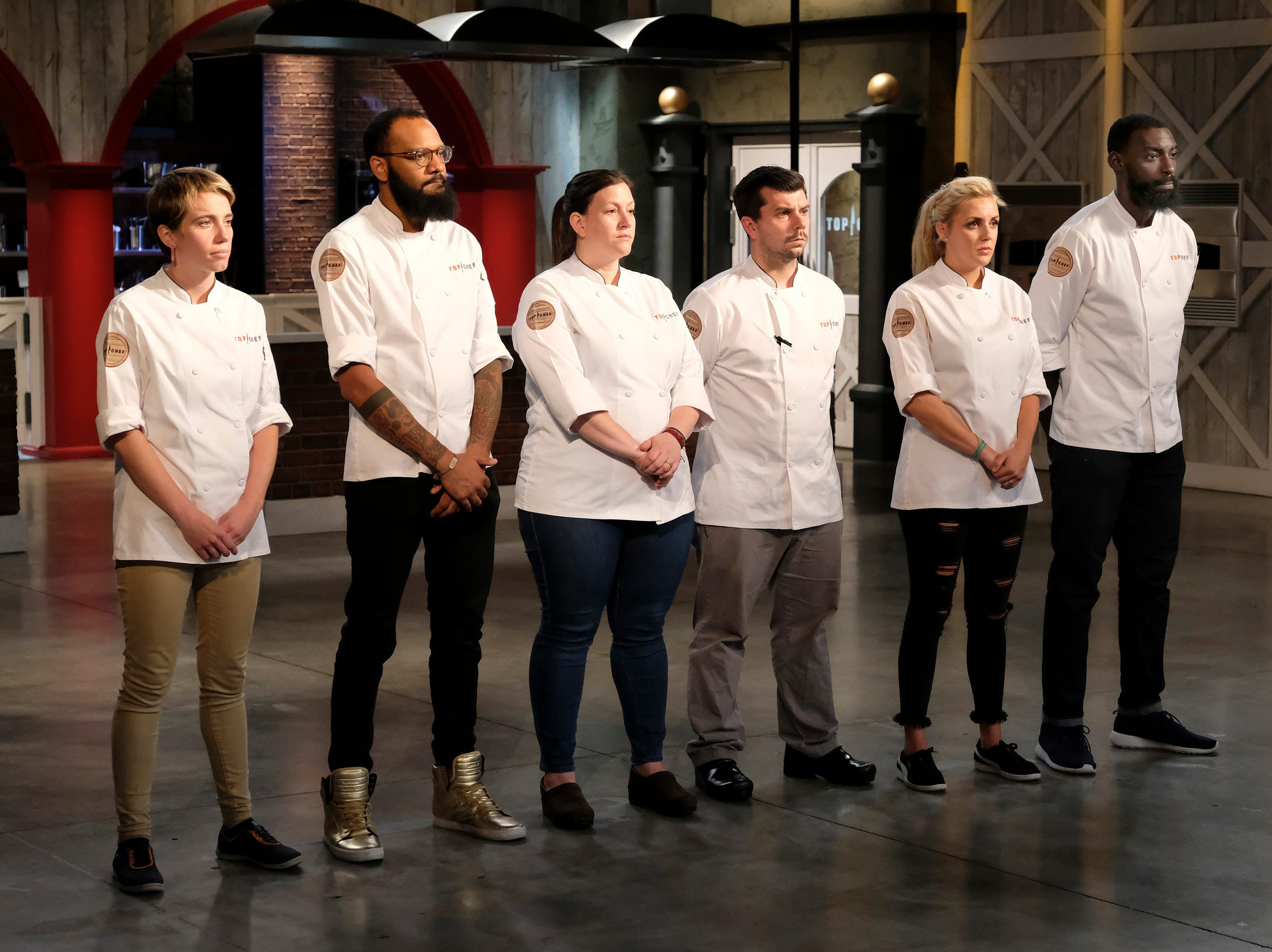 (From left to right): Contestants Adrienne Wright, Justin Sutherland, Sara Bradley, Eddie Konrad, Kelsey Barnard and Eric Adjepong on episode 11 of Bravo's 'Top Chef:' Kentucky season.
