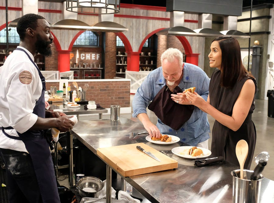 (From left to right): Contestant Eric Adjepong, Chef Art Smith and host Padma Lakshmi on episode 11 of Bravo's 'Top Chef:' Kentucky season.