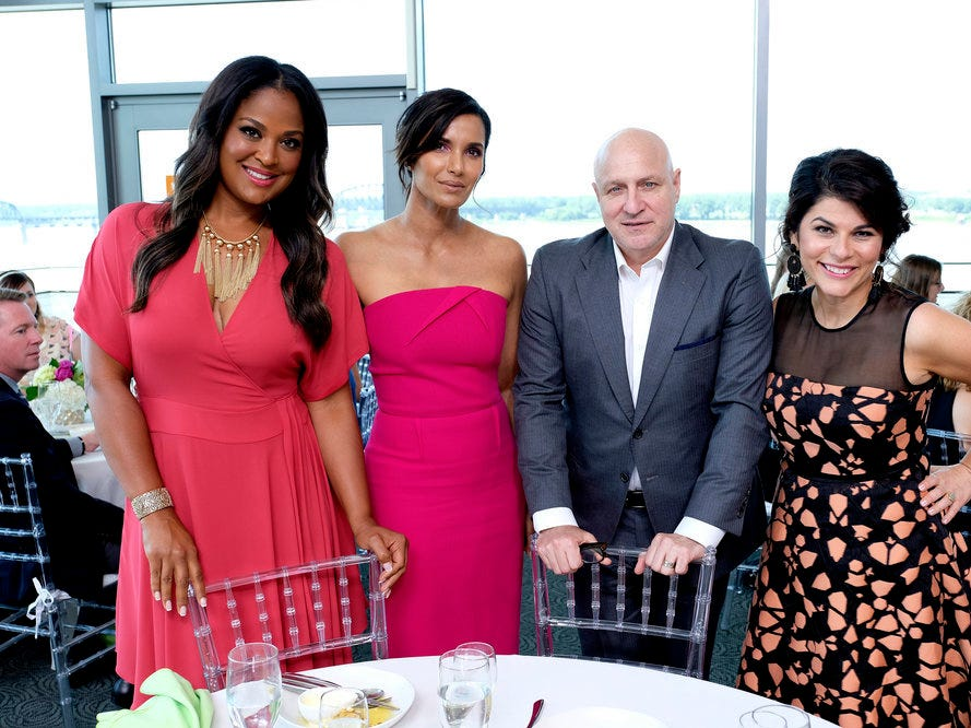 (From left to right): Laila Ali, host Padma Lakshmi and judges Tom Colicchio and Nilou Motamed on episode 11 of Bravo's 'Top Chef:' Kentucky season.