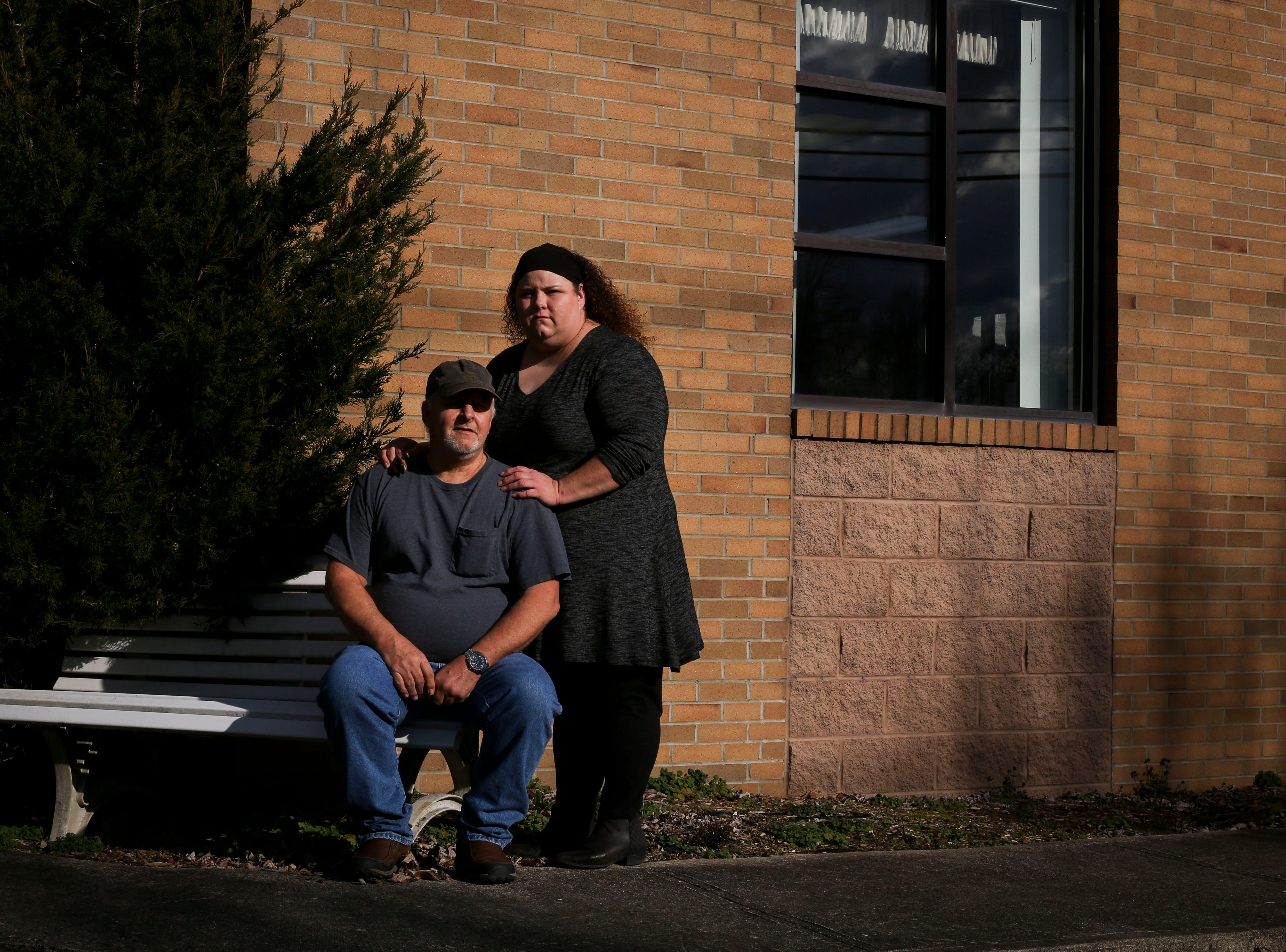 Tim Ramey, left, and Brandy Stafford, right, outside the health department in Inez, Kentucky, on Jan. 8, 2019. They lost James Ramey, their son and brother, respectively, to complications due to hepatitis A in November 2018.