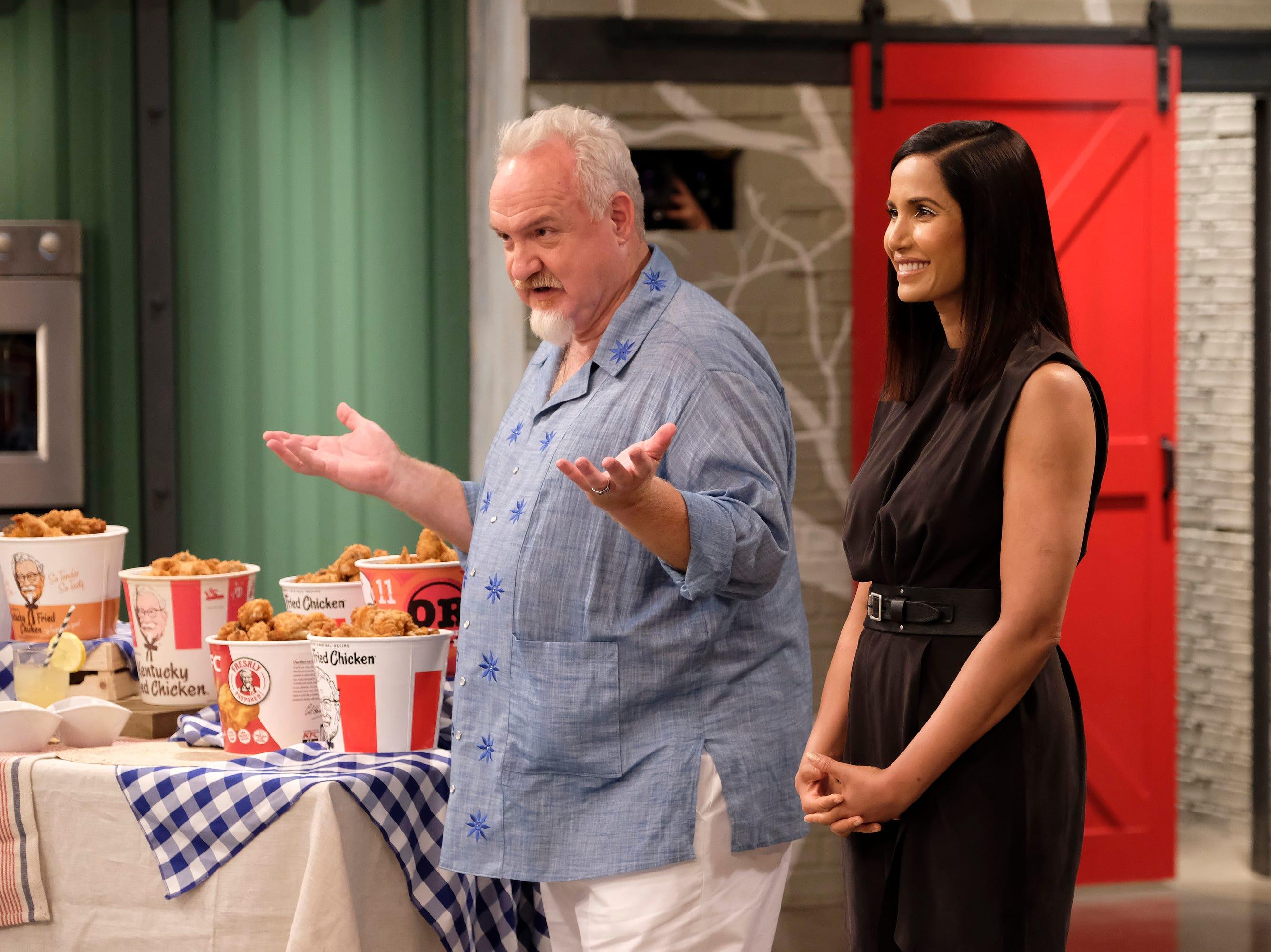 Chef Art Smith and host Padma Lakshmi on episode 11 of Bravo's 'Top Chef:' Kentucky season.