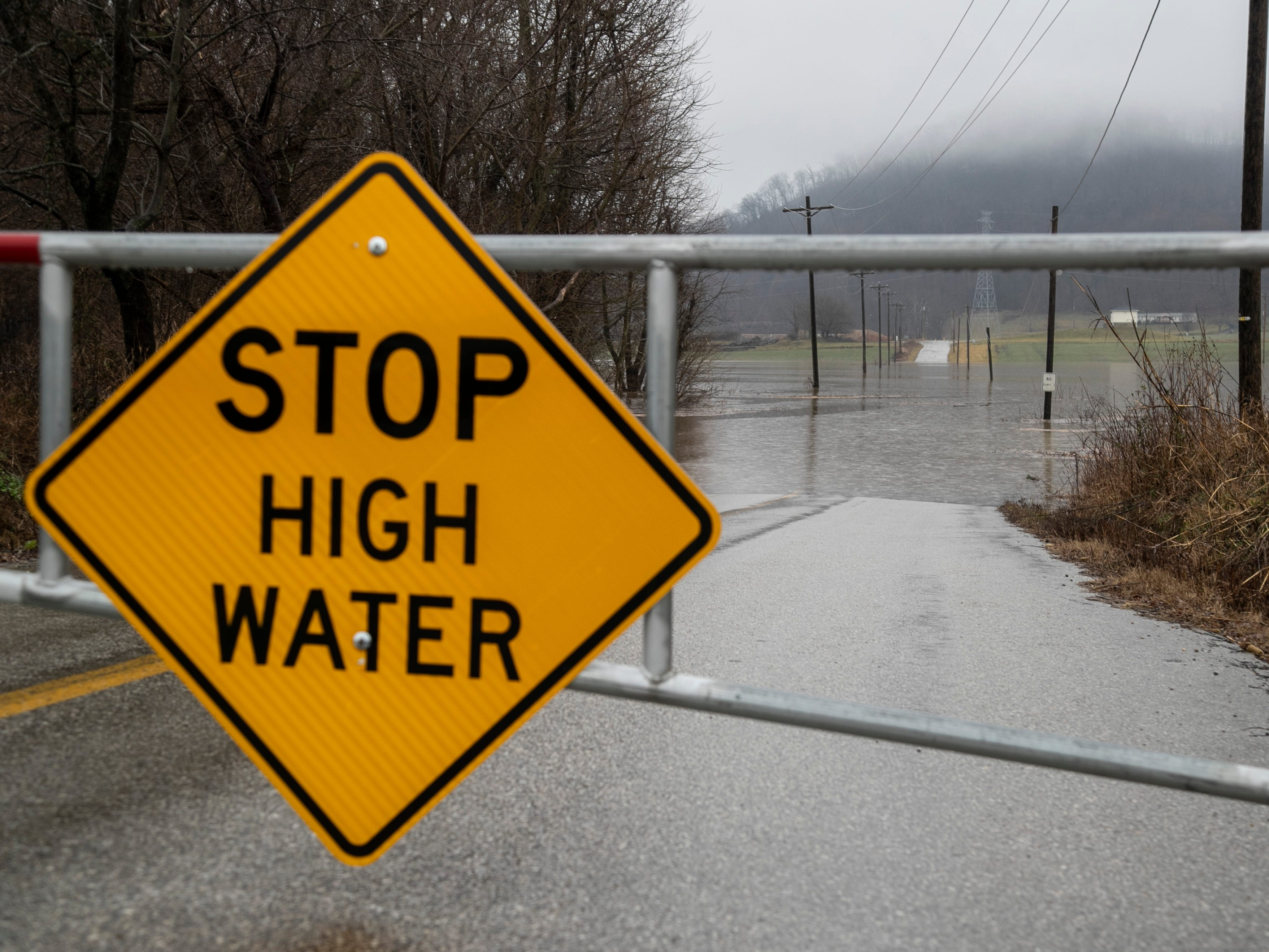 Seven Mile Lane in Floyd County, Indiana near the Horseshoe Casino was closed due to high water and flooding Monday. Feb. 11, 2019