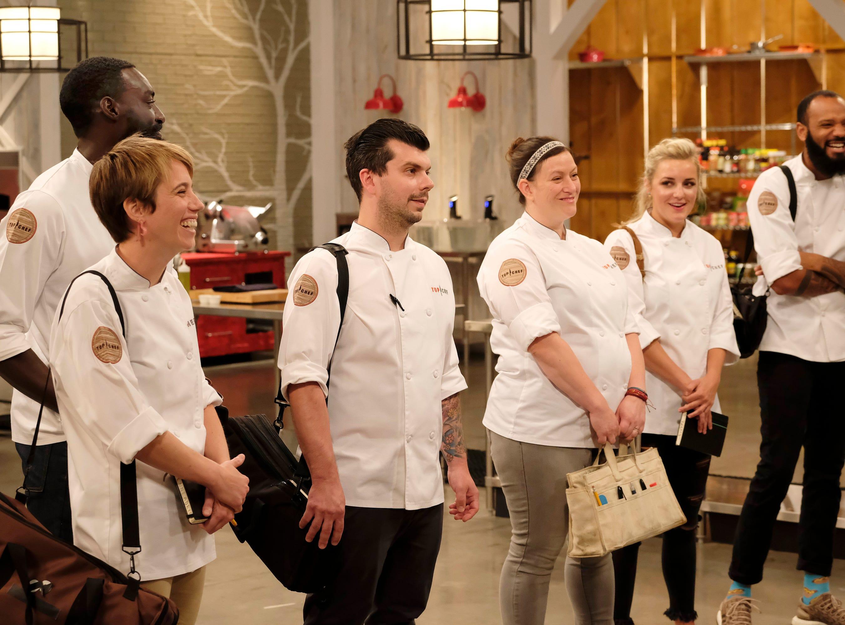 (From left to right): Adrienne Wright, Eric Adjepong, Eddie Konrad, Sara Bradley, Kelsey Barnard and Justin Sutherland on episode 11 of Bravo's 'Top Chef:' Kentucky season.