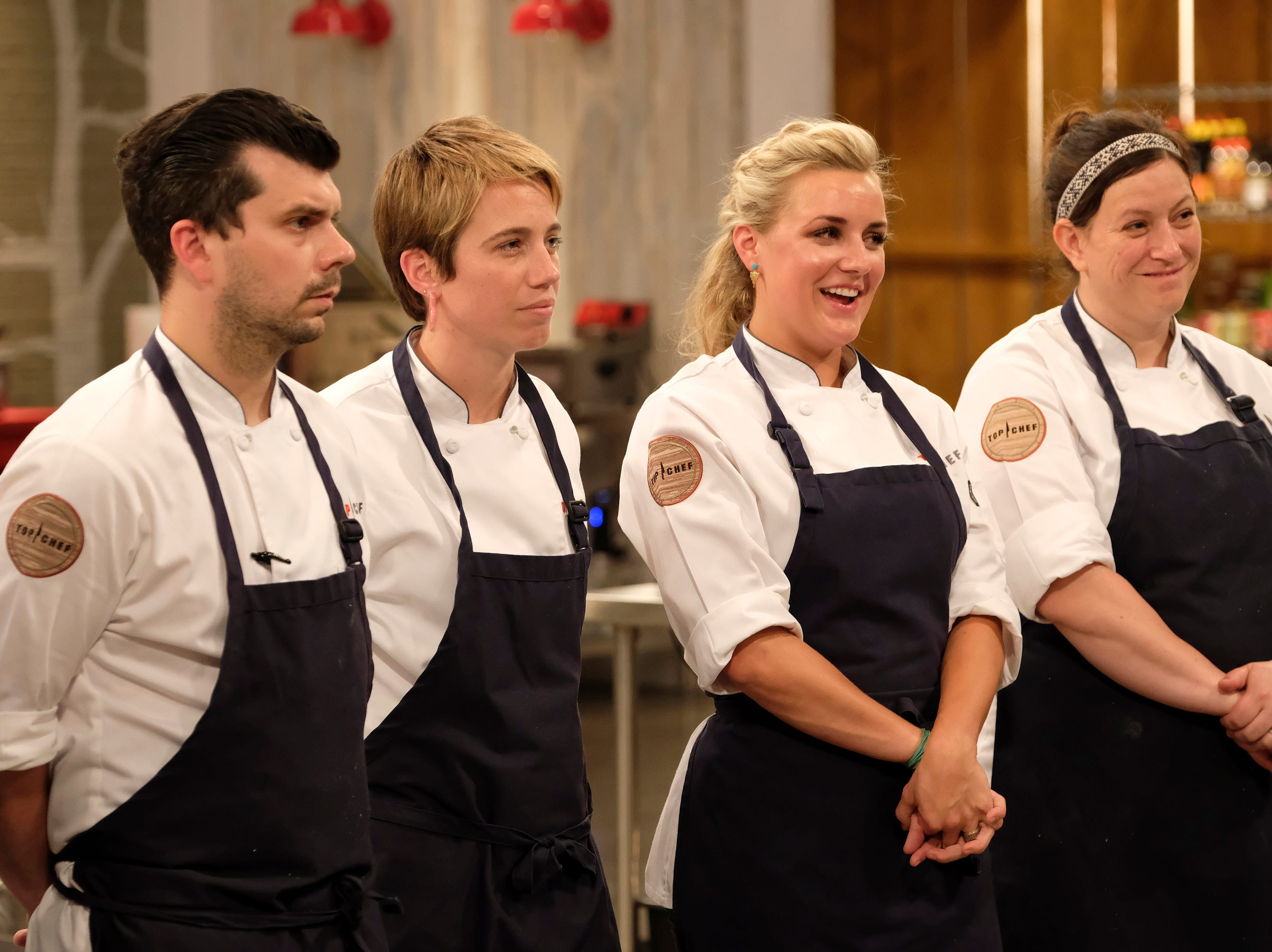 (From left to right): Contestants Eddie Konrad, Adrienne Wright, Kelsey Barnard and Sara Bradley on episode 11 of Bravo's 'Top Chef:' Kentucky season.