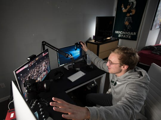 """""""I am 100 percent me when I'm on here,"""" MSU junior Matt Meagher said  Feb. 4, 2019.  Meagher studies marketing, and is the president of his fraternity Psi Upsilon.  He also records himself playing the video game Madden 19 and posts them to YouTube.  He has nearly 1 million subscribers."""