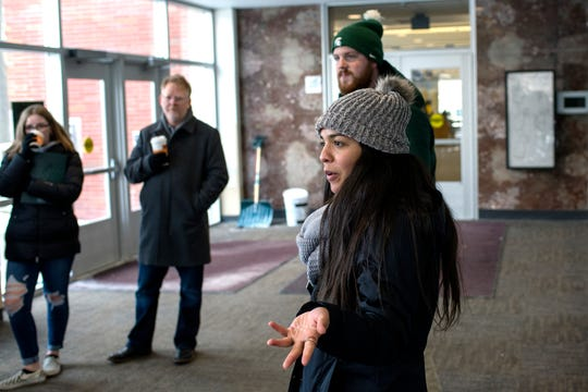 Student tour guide Brooklyn Narvaez talks about the Michigan State University library to prospective students during a walking tour of the campus on Friday, Feb. 8, 2019, in East Lansing.