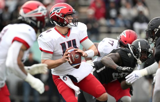 Express quarterback Christian Hackenberg drops back for a pass against the Birmingham Iron on Feb. 10.