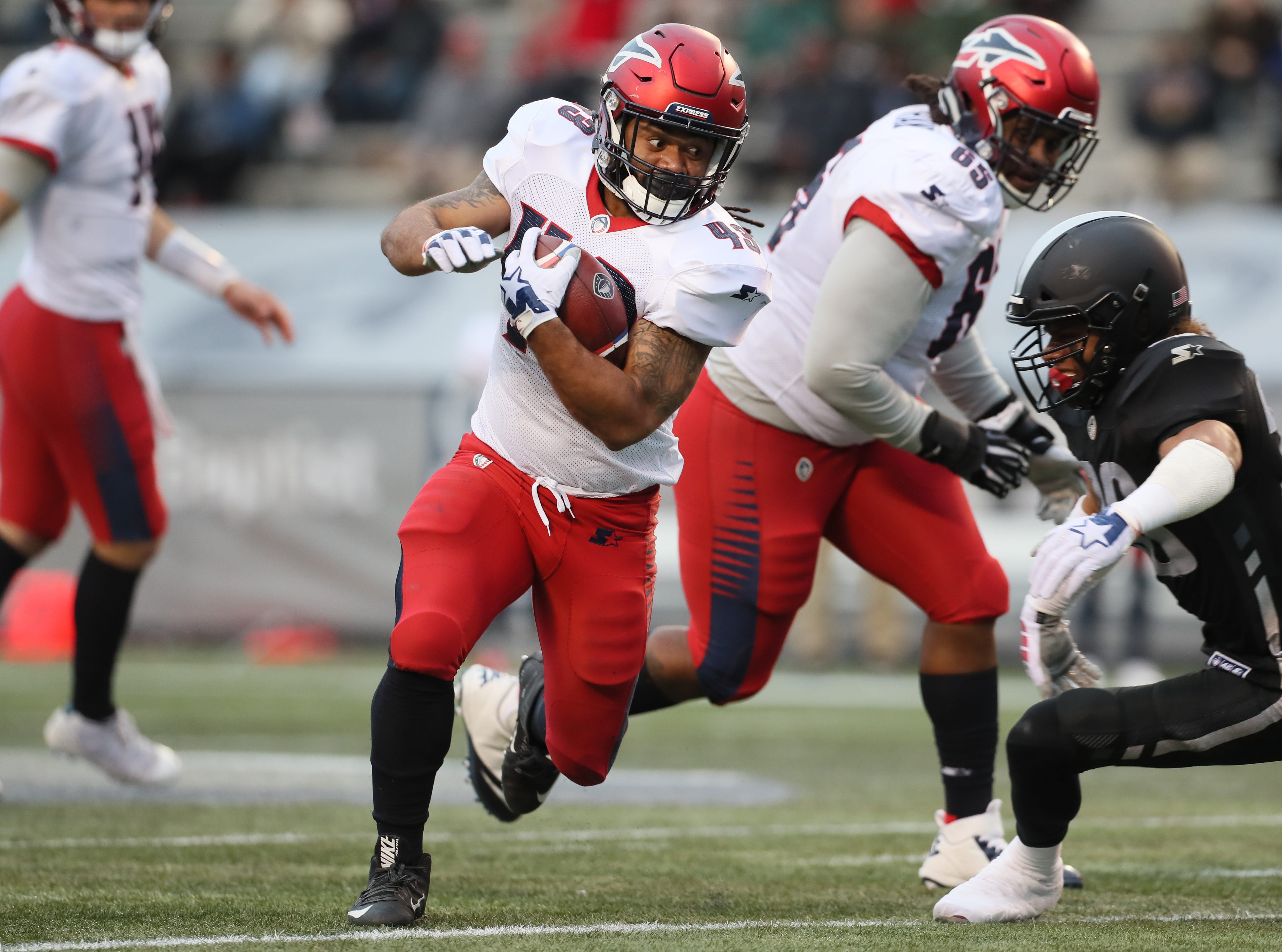 Memphis Express runningback Terrence Magee finds a hole against the Birmingham Iron during their game at Legion Field in Birmingham, Ala. on Sunday, Feb. 10, 2019.
