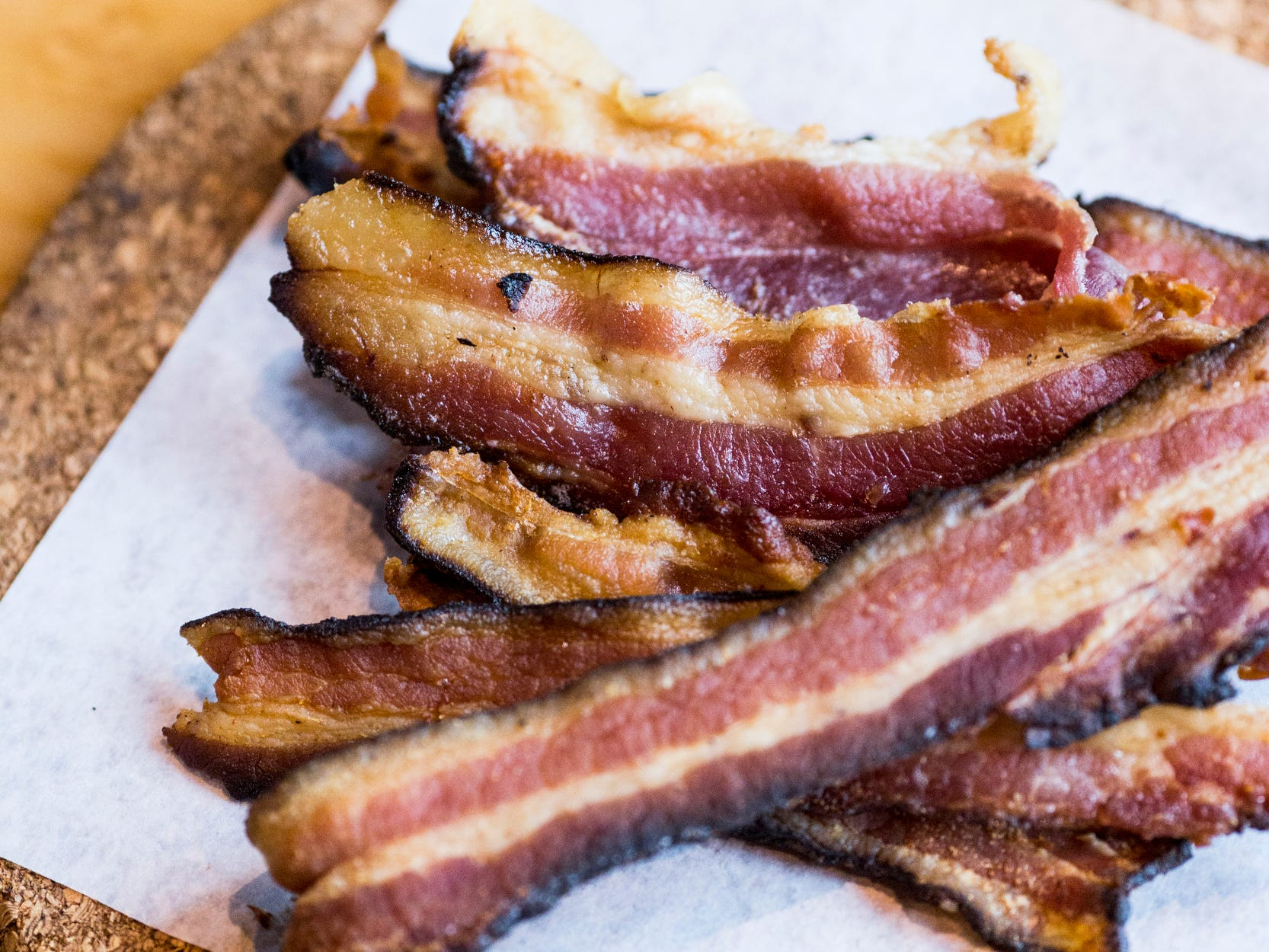 February 10, 2019 - House bacon with brown sugar and hickory smoke is available during Sunday brunch at PO Press Public House & Provisions in Collierville. PO Press Public House & Provisions is located at 148 N Main St. in Collierville.