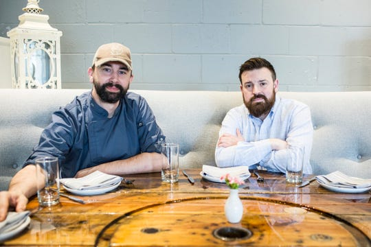Chef Jimmy Gentry, left, and co-owner Chris Thorn sit Feb. 10, 2019, at P.O. Press Public House & Provisions in Collierville.