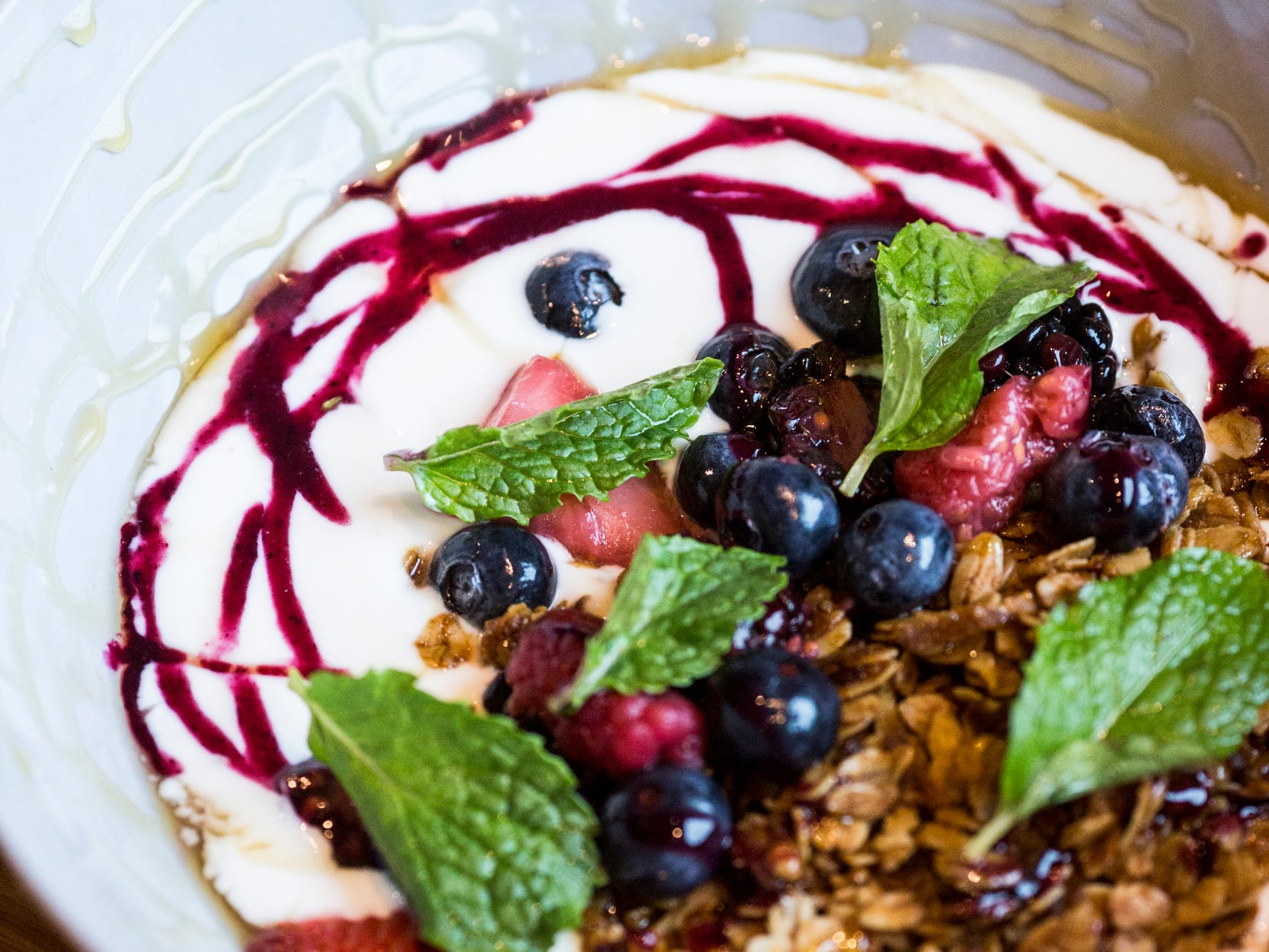 February 10, 2019 - Yogurt featuring granola and seasonal fruit is available during Sunday brunch at PO Press Public House & Provisions in Collierville. PO Press Public House & Provisions is located at 148 N Main St. in Collierville.