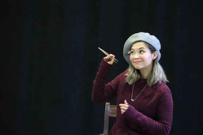 "Lisa Helmi Johanson rehearses the title role in Milwaukee Repertory Theater's production of ""The Chinese Lady."""