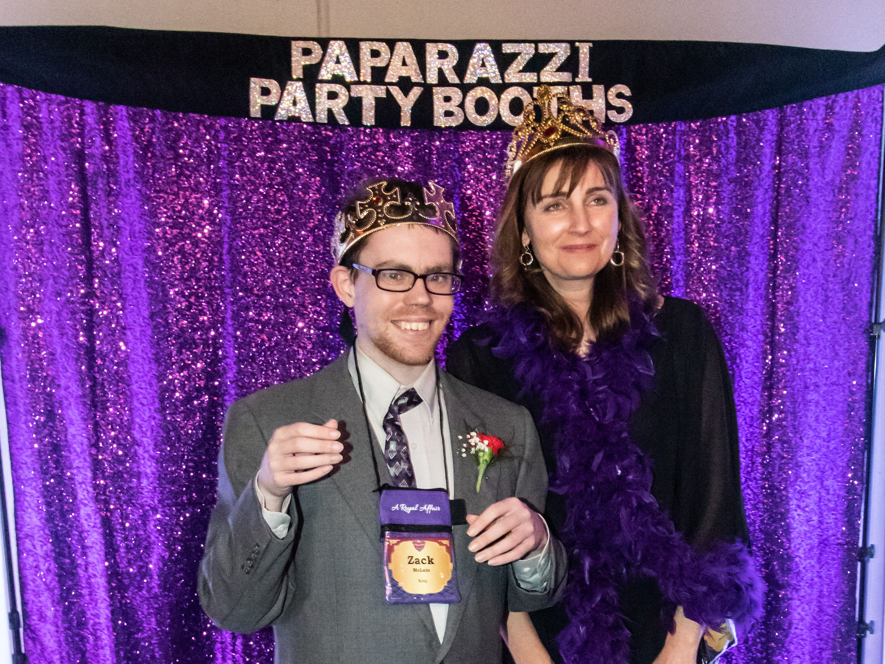 "Zach M. and his chaperone Heidi P. pose for a photo during the ""A Royal Affair"" prom event hosted by Crosspoint Community Church and Pabst Farms YMCA in Oconomowoc on Friday, Feb. 8, 2019. A Royal Affair is a free, full-size prom event for people with any sort of special need, complete with limo rides, a red carpet reception, photo booths, dinner, dancing, karaoke, a balloon drop and more."
