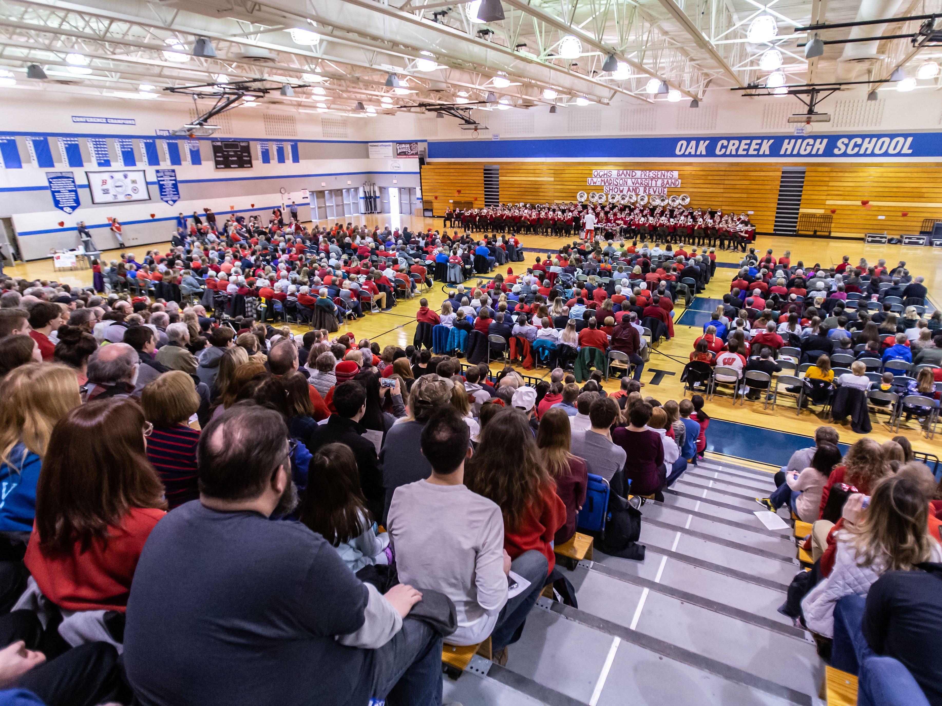 """The University of Wisconsin-Madison Varsity Band performs it's 23rd """"Show and Revue"""" at the Oak Creek High School gymnasium on Sunday, Feb. 10, 2019."""