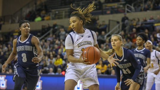 Marquette's Amani Wilborn and the Golden Eagles took down Georgetown on Feb. 8 at the Al McGuire Center.