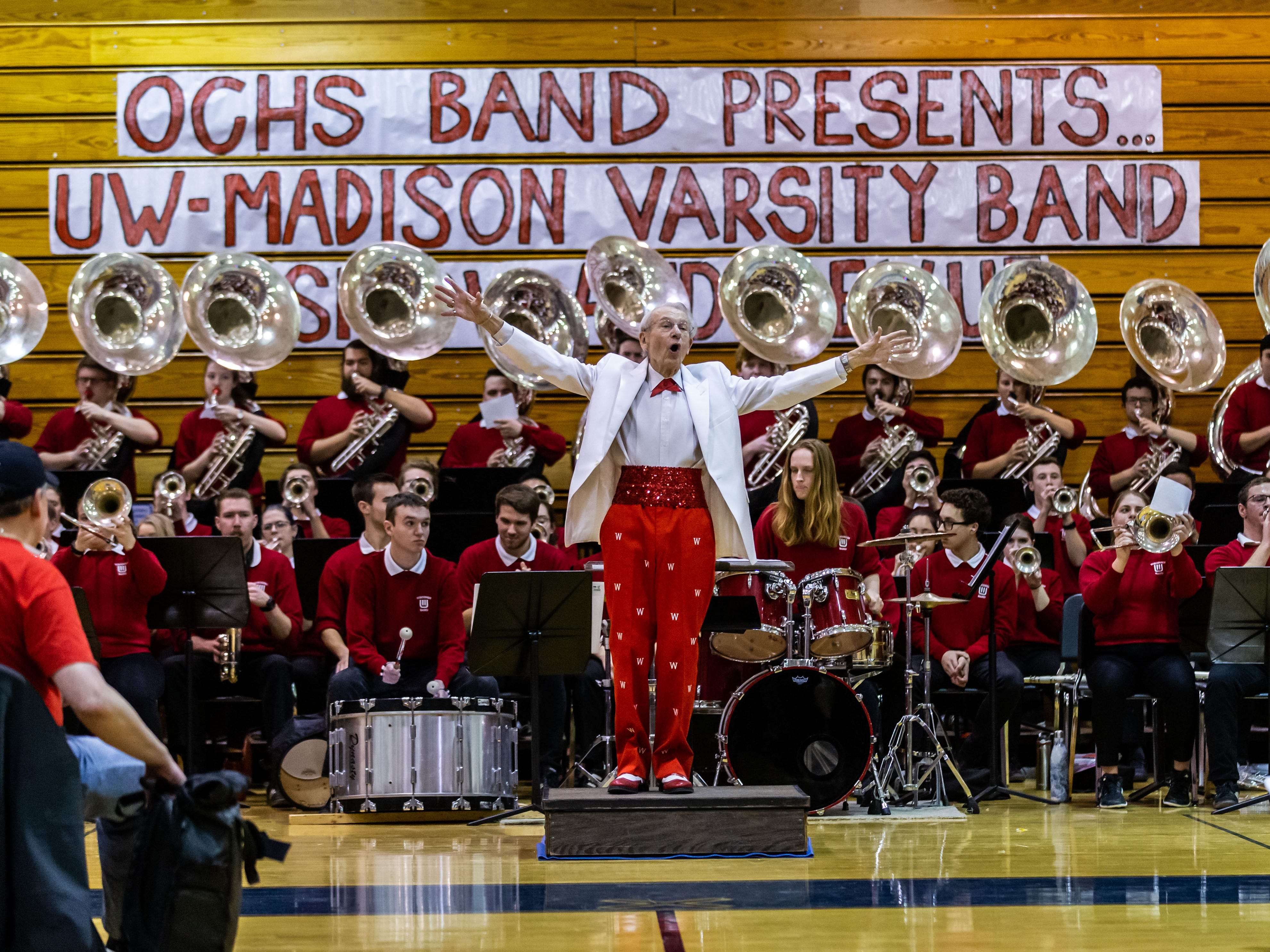 """University of Wisconsin-Madison Varsity Band Director Michael Leckrone leads the band through its 23rd """"Show and Revue"""" at Oak Creek High School on Sunday, Feb. 10, 2019."""