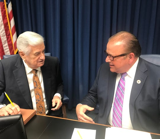 Senate President John Alario, R-Westwego, and House Speaker Taylor Barras, R-New Iberia, discuss the state's revenue forecast Monday before the Revenue Estimating Conference meeting.