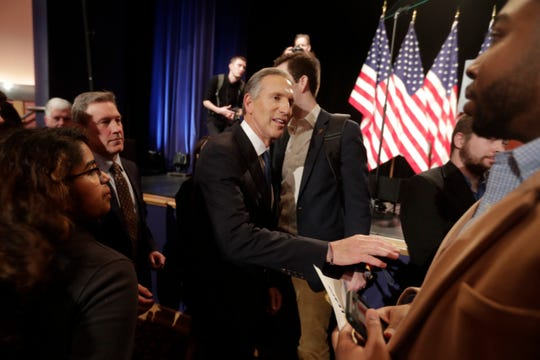 Former Starbucks CEO Howard Schultz greets students after speaking at Purdue University in West Lafayette, Ind., Thursday, Feb. 7, 2019. (AP Photo/Michael Conroy)