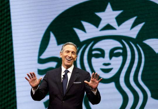Then-Starbucks CEO Howard Schultz speaks at the Starbucks annual shareholders meeting in Seattle on March 22, 2017.