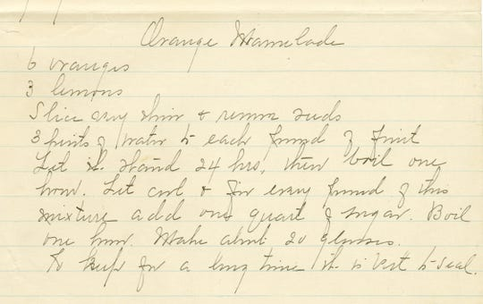 Many of Frances Ball's handwritten recipes, like this one for Orange Marmalade, made their way into early editions of the Blue Book.