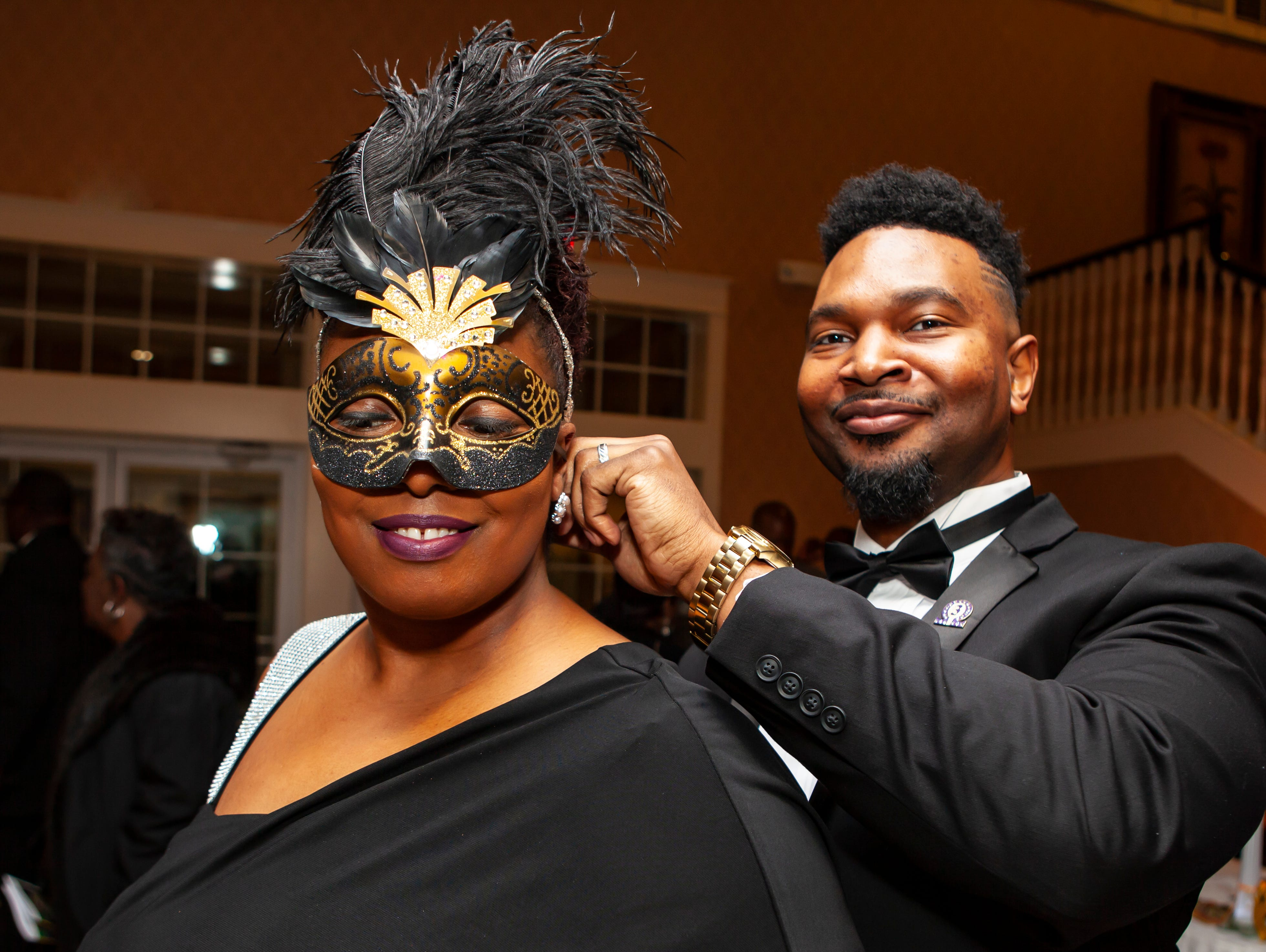 Stacey and Cornelius Yates at the Omega Psi Phi Mardi Gras Party, held Saturday, Feb. 9 at Stones River Country Club in Murfreesboro.