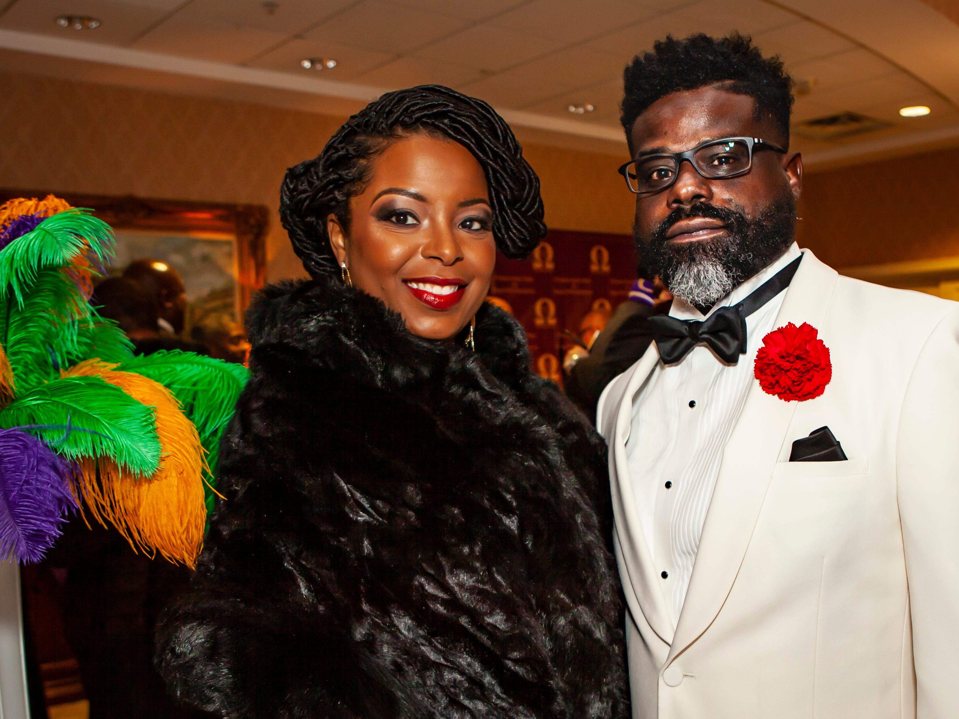 Rhiannon Wilson and Jeremy Simmons at the Omega Psi Phi Mardi Gras Party, held Saturday, Feb. 9 at Stones River Country Club in Murfreesboro.