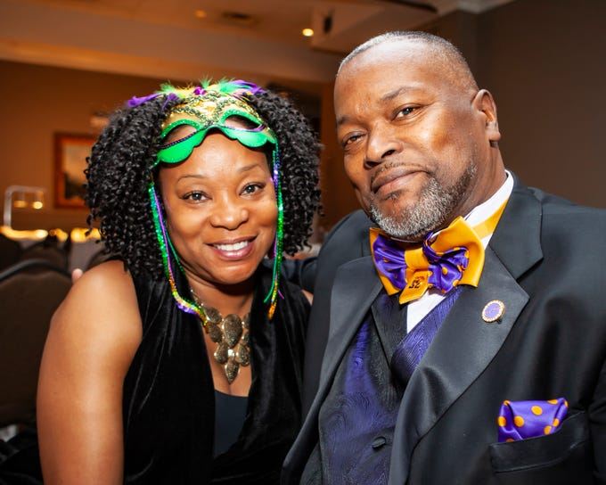 Angela and Chuck Hilt at the Omega Psi Phi Mardi Gras party held Saturday, Feb. 9, 2018 at Stones River Country Club in Murfreesboro.