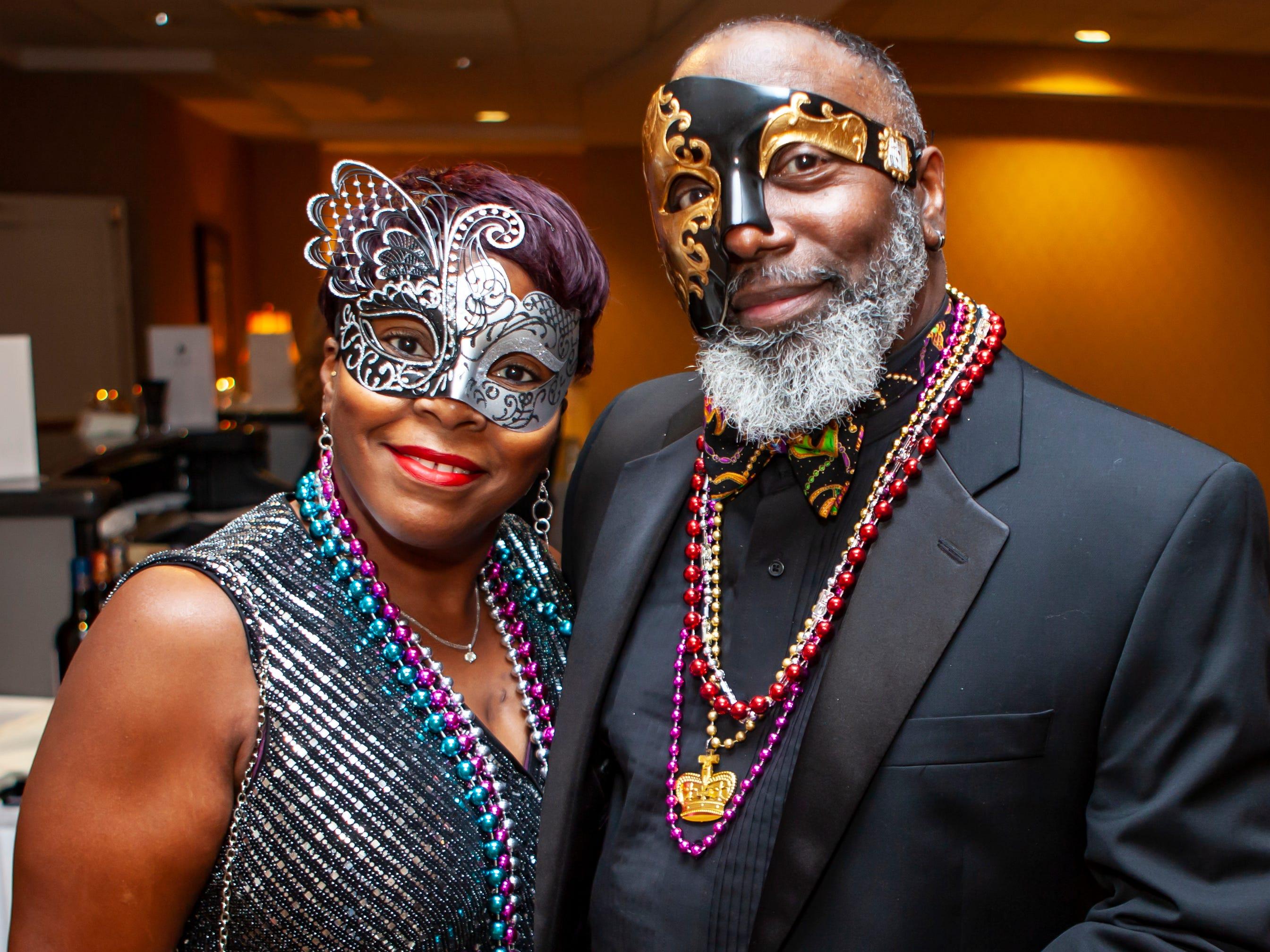 Darlene and Michael Johnson at the Omega Psi Phi Mardi Gras party held Saturday, Feb. 9, 2018 at Stones River Country Club in Murfreesboro.