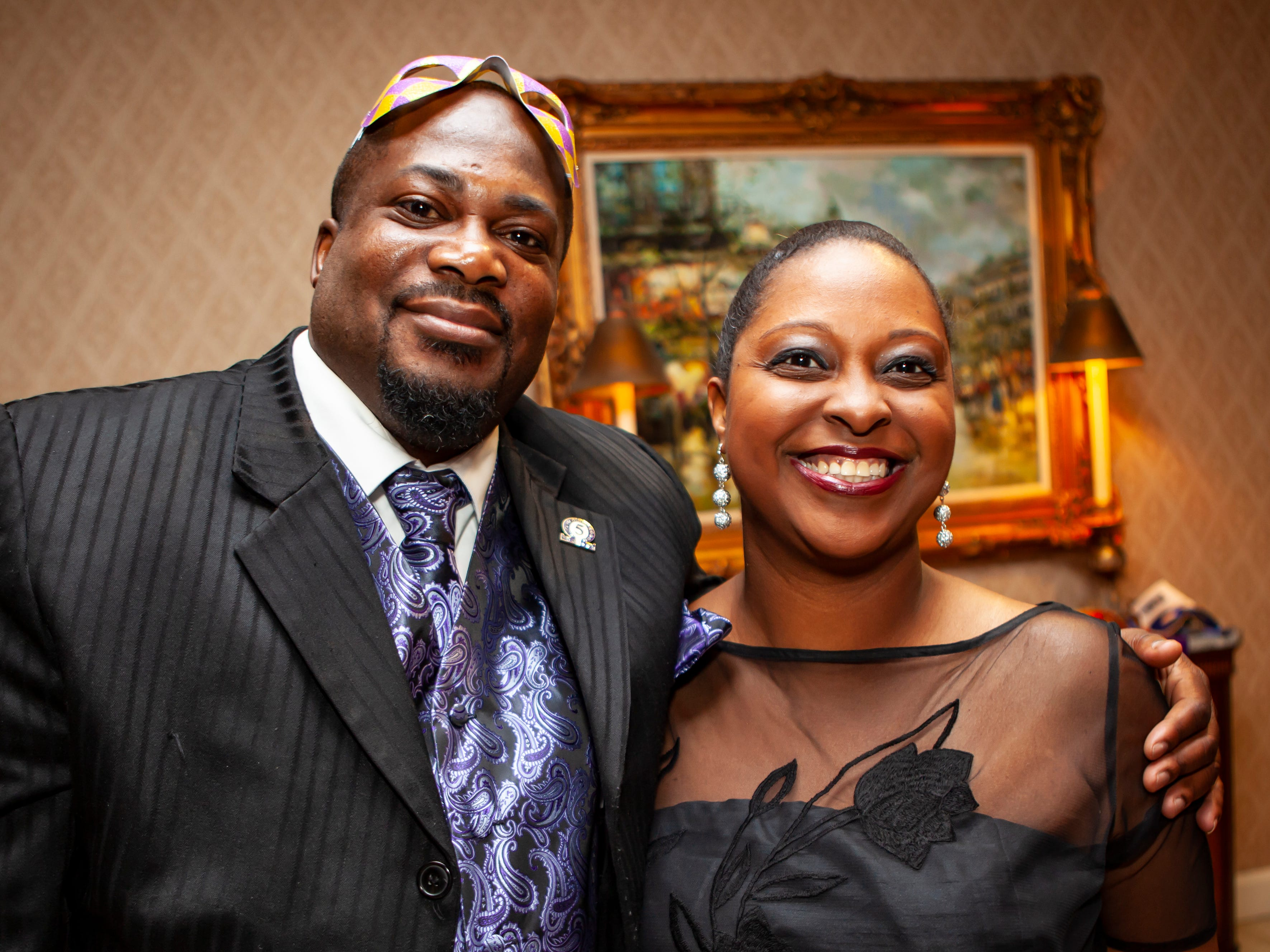 Eric Turner and Mealand Ragland-Hudgins at the Omega Psi Phi Mardi Gras Party, held Saturday, Feb. 9 at Stones River Country Club in Murfreesboro.