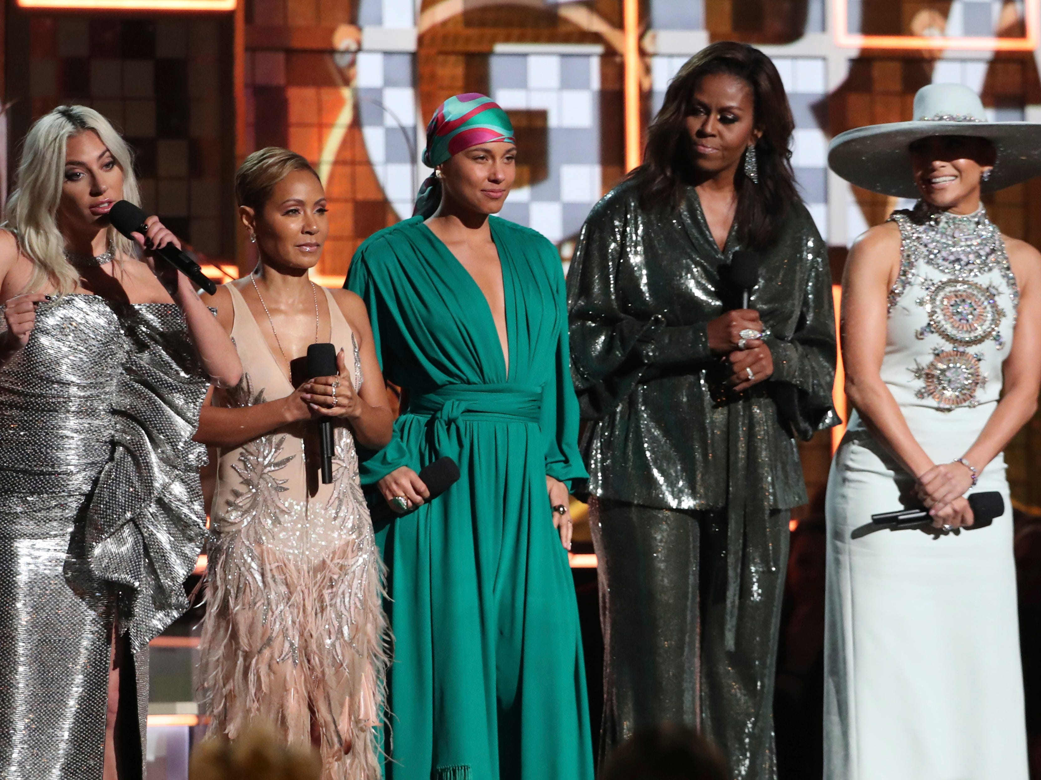 Lady Gaga, from left, Jada Pinkett Smith, Alicia Keys, Michelle Obama and Jennifer Lopez speak at the 61st annual Grammy Awards on Sunday, Feb. 10, 2019, in Los Angeles.