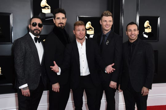 AJ McLean, from left, Kevin Richardson, Brian Littrell, Nick Carter, and Howie Dorough of The Backstreet Boys arrive at the 61st annual Grammy Awards at the Staples Center on Sunday, Feb. 10, 2019, in Los Angeles.